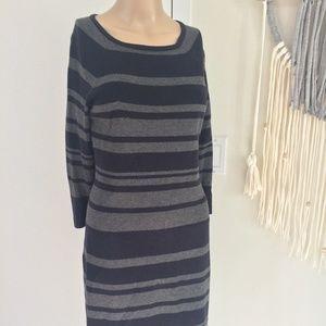 Ann Taylor Petite Gray Striped 3/4 Sleeve Dress